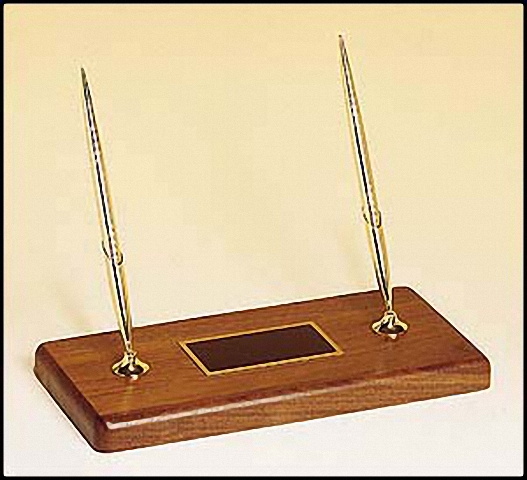 Tomasis sports and awards recognition awards trophies plaques walnut wedge desk name plate holder business card holder with black brass plate two lines of engraving individually boxed colourmoves
